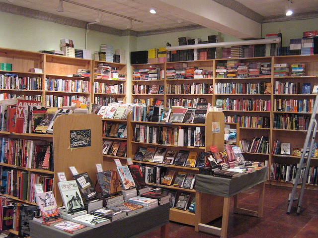 The book section of Bluestockings.