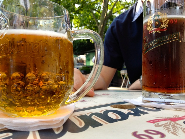 Pilsner Urquell and Spaten (left to right)