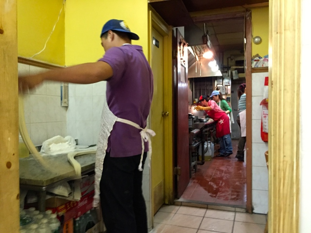 The noodle man at work